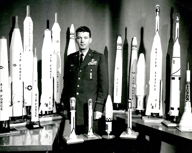 "The ""Father of Air Force space and missiles"" with some of the systems created under his leadership. His management philosophy made rapid development possible. (U.S. Air Force photo)"