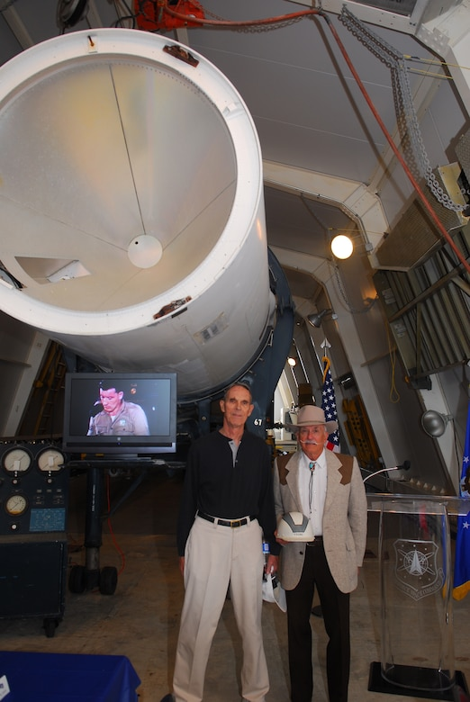 Two of Vandenbergs early launch operators visited Vandenberg to celbrate its 50th anniversary. Mx Myer and Dave Young were part of the early stages of Vandenbergs launch operations. There dedication to the mission laid the foundation of todays space power.