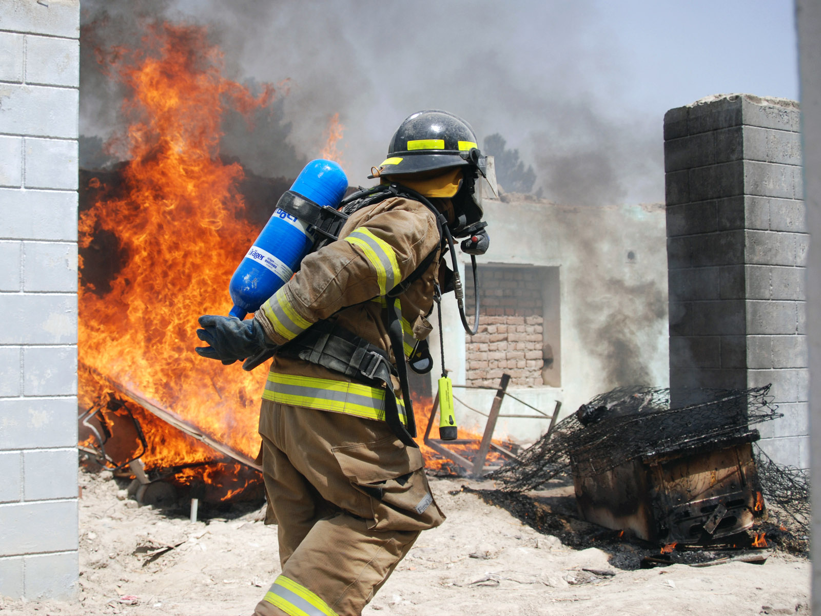 Afghan National Army Air Corps students hone their firefighting skills