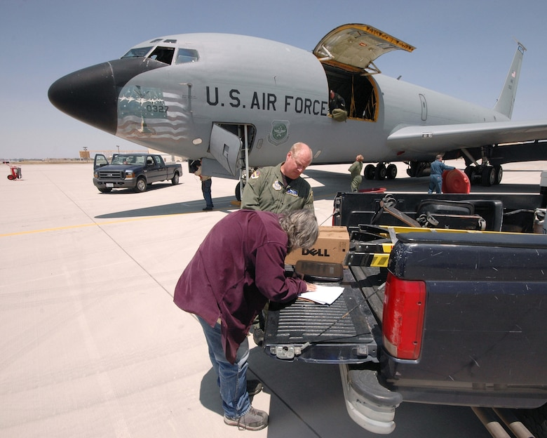 Air Force KC-135 E-model aircraft, tail number 0327, is recieved by 309th Aerospace Maintenance and Regeneration Group personeel at Davis-Monthan Air Force Base on April 24. The 50-year-old aircraft was delivered to the group for long-term storage at the 2,600-acre facility after serving the 151st Air Refueling Wing, Utah Air National Guard for more than 20 years. The 309th AMARG is a one-of-a-kind specialized facility within the Air Force Materiel Command's 309th Maintenance Wing at Hill AFB, Utah. The 309th AMARG provides critical aerospace maintenance and regeneration capabilities for Joint and Allied/Coalition warfighters in support of global operations and agile combat support for a wide range of military operations. U.S. Air Force photo by: Master Sgt. Burke Baker