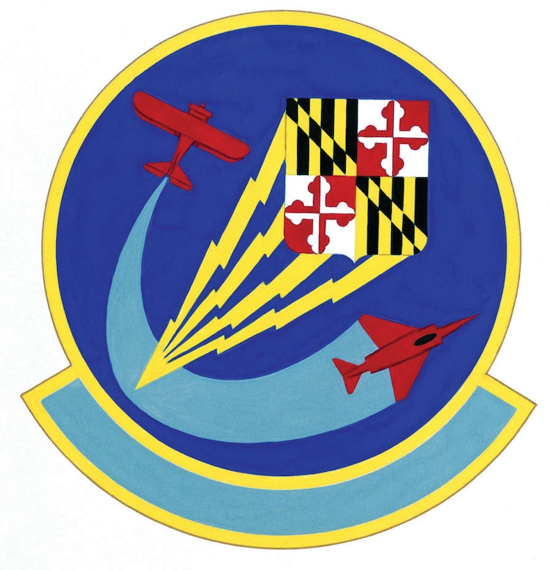 Symbolism:   Ultramarine blue and golden yellow are the Air Force colors and symbolize that the unit is a part of the Air Force. The shield of the Great Seal of Maryland identified the squadron as a Maryland Air National Guard unit. The four lightning flashes represent the avionics, field, munitions, and operational maintenance branches of the unit. The lightning flashes converge, demonstrating the squadron's command and staff functions and its unity of purpose. The two aircraft commemorate the unit's long history of service. Background:  Designed by Tech. Sgt. Michael Montalvo. Approved as official by the U.S. Air Force for the 175th Consolidated Aircraft Maintenance Squadron on 13 September 1989. Redesignated for the 175th Maintenance Squadron in 1994.