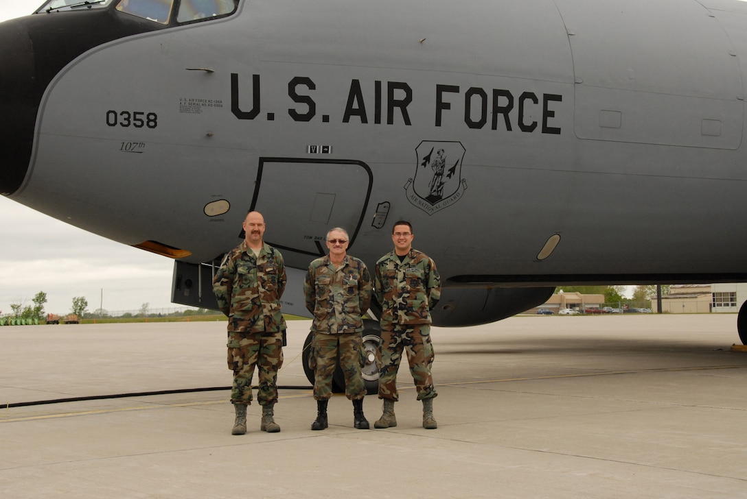 107th Airlift Wing crew chiefs TSgt Robert Albrecht, MSgt Stephen Linza,SSgt Anthony Re pose for the last time with aircraft 0358. Under BRAC the the 107th will lose all their KC-135R models and convert to the C-130H2 aircraft.