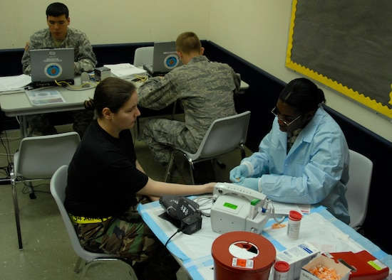 Members of the United States Navel Hospital Okinawa check vital signs and iron levels from donators at this year's annual Blood Drive located on Andersen Air Force Base, Guam on May 20, 2008.  The members of the Navel Hospital are part of the Armed Service Blood Bank Center that represents the blood supply of the whole area of readiness within the Western Pacific realm. ( US Air Force photo by Airman First Class Courtney Witt)