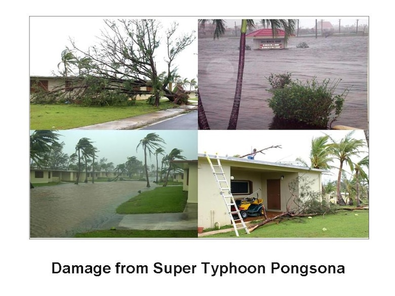During typhoon impact, expect up to 24 hours of destructive winds, heavy rains, scattered thunderstorms, flooding in low-lying areas, falling trees, flying debris and possible tornadoes. Disruption of utility services (e.g. electricity) may occur as early as storm onset and last up to hours (or sometimes days and even weeks) after typhoon passage. Preparation and readiness is key when living in Typhoon Alley, and always remember, it's never too early to prepare for typhoons on Guam.