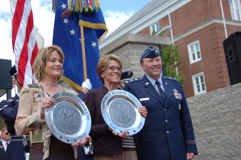 Maj. Gen. Charles E. Stenner Jr., assistant deputy chief of staff for Strategic Plans and Programs, Headquarters U.S. Air Force, represented the Air Force Reserve Command during a ceremony in Indiana, Pa., honoring former reservist and Hollywood actor James Stewart. He presented Kelly Stewart Harcourt and Judy Stewart, the actor's daughters , with two pewter plaques commemorating the Air Force Reserve's 60th anniversary.  He also gave them a photograph of their father sitting at his desk when he served as deputy director of the Office of Information Services, the predecessor to Secretary of the Air Force Public Affairs. (U.S. Air Force photo/Lt Col Lori Largen)