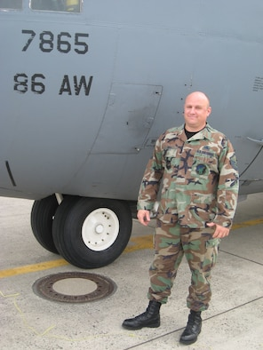As an arman first class, Master Sgt. Jim Hill, 86th Maintenance Squadron production supervisor, was the dedicated crew chief of C-130 63-7865 while assigned to the 374th Tactical Airlift Wing, Yokota Air Base, Japan, from 1989 to 1992. Sergeant Hill will now accompany this C-130 as it makes its final flight to Davis-Monthan Air Force Base, Ariz., to be stored in the Aerospace Maintenance and Regeneration Group. Courtesy photo