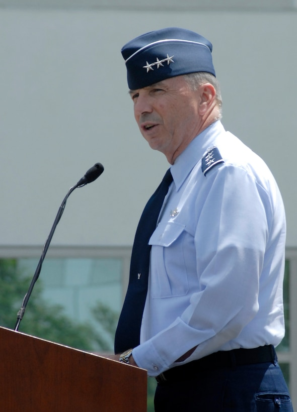Out-going SMC Commander Lt. Gen. Michael Hamel bid farewell to the SMC workforce, May 15. The general retired May 16 after serving 36 years in the Air Force, including 4 tours here. (Photo by Joe Juarez)