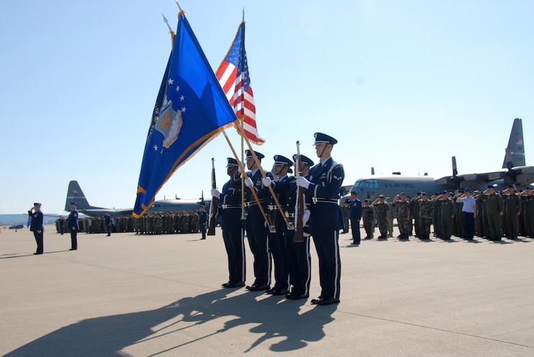 The Base Color Guard opens the change-of-command ceremony as the wing stands at attention on the KyANG flightline. (Photo by Tech. Sgt. Dennis Flora, Kentucky Air National Guard.)