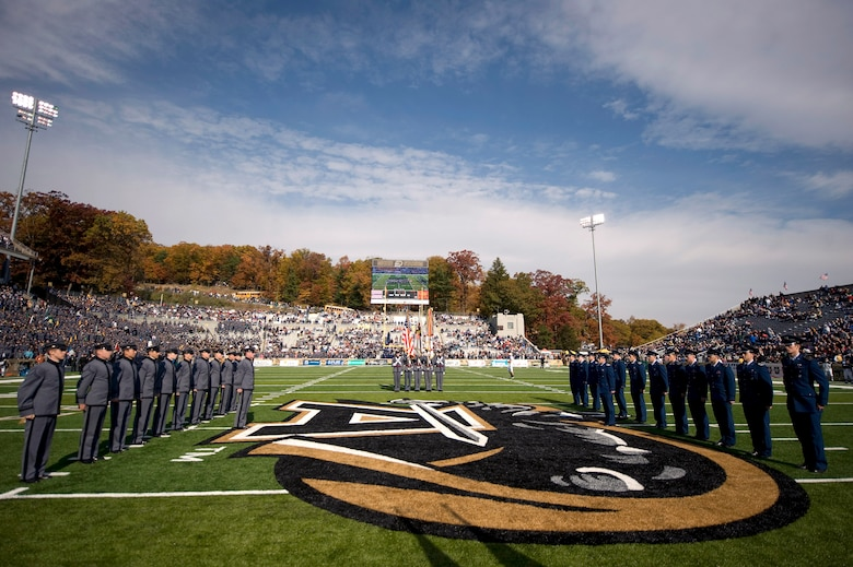 Cadets of the U.S. Military Academy and U.S. Air Force Academy face off prior to kickoff in their annual battle in which Air Force defeated Army 16-7 Nov. 1 at West Point, N.Y. (Defense Department photo/Navy Petty Officer 1st Class Chad J. McNeeley)