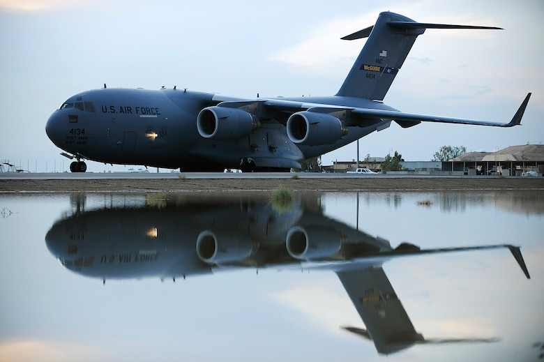 A C-17 Globemaster III taxis after landing at an air base in Southwest Asia. The C-17 performs tactical airlift and airdrop missions, transports passengers, performs medical evacuations, delivers troop resupply and all types of cargo throughout Southwest Asia in support of operations Enduring Freedom and Iraqi Freedom. (U.S. Air Force photo/Airman 1st Class Jason Epley)