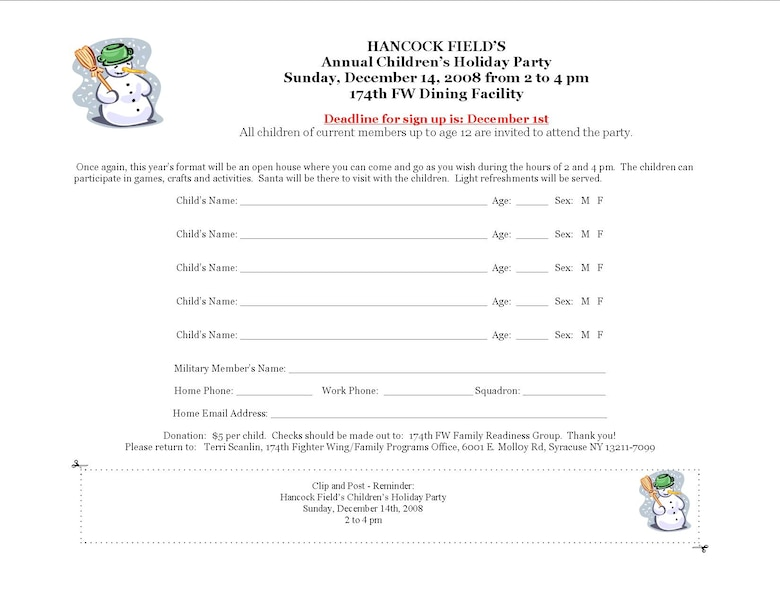 Children's Christmas Party Sign-Up