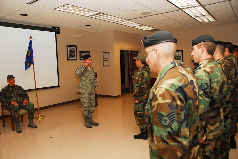 Major Alberto J. Gaston receives his first salute from the 274th Air Support Operations Squadron.  Maj. Gaston assumed command on November 2, 2008 in a ceremony officiated by Colonel Kevin W. Bradley, 174th Fighter Wing Commander.  He had assumed the duties since July 2, 2008.  (Photo taken by SSgt Ricky Best)