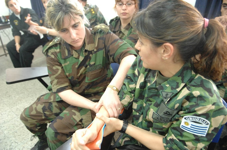 Uruguayan Army and Navy nurses practice using splints provided by the U.S. Defense Institute for Medical Operation team while participating an an exchange during Operation Southern Partner, Nov., 3, 2008. OSP is an in-depth, two-week subject matter exchange emphasizing partnership, cooperation and sharing of information with partner nation Air Forces in Latin America. 