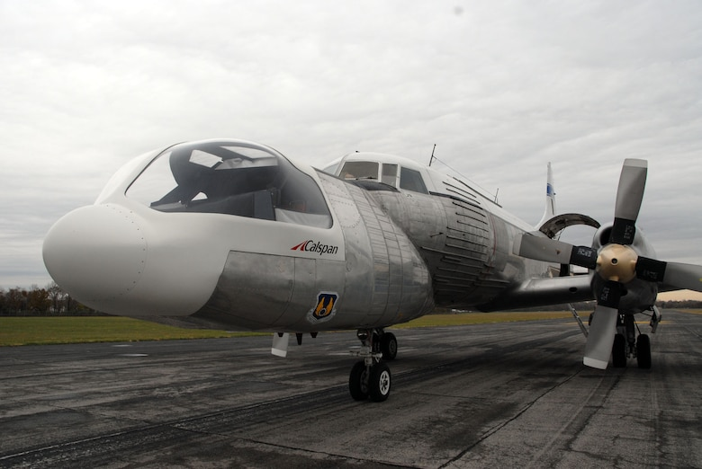 DAYTON, Ohio - The Convair NC-131H Total In-Flight Simulator (TIFS), a very unique aircraft created to perform research for the U.S. Air Force, just after landing on the back field of the National Museum of the U.S. Air Force on Nov. 7, 2008. (U.S. Air Force photo)