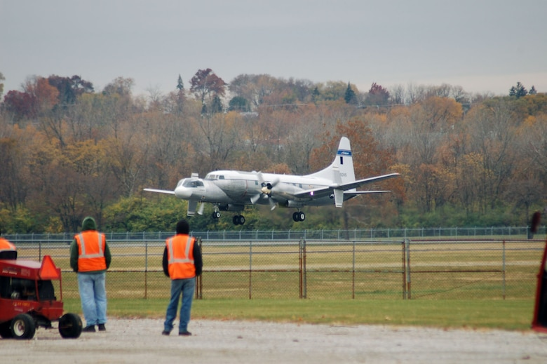 DAYTON, Ohio -- Bill Weldon of Enon, Ohio, took this photo of the Convair NC-131H as it landed at the National Museum of the United States Air Force on Nov. 7, 2008. (Photo courtesy of Bill Weldon)