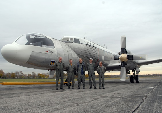 DAYTON, Ohio - The crew of the Convair NC-131H Total In-Flight Simulator (TIFS), a very unique aircraft created to perform research for the U.S. Air Force, stands in front of the aircraft just after landing at the National Museum of the U.S. Air Force on Nov. 7, 2008. (U.S. Air Force photo)