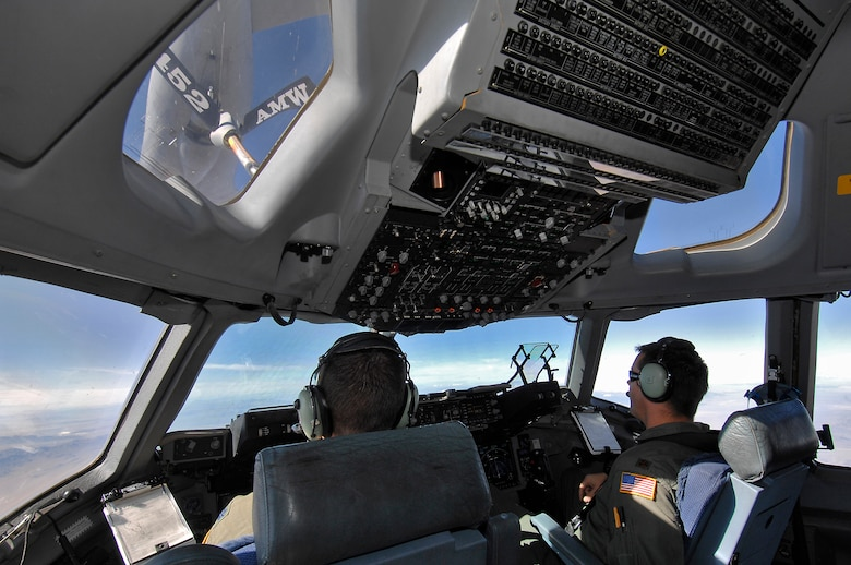During the C-17 orientation flight from March ARB on Nov. 10, civic leaders could almost reach out and touch the refueling plane flying in front. The flight was held as part of events leading up to Air Force Week. (Photo by Joe Juarez)