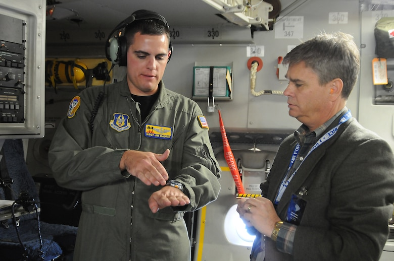 Mark Juhas was among the civic leaders who flew on a C-17 orientation flight from March ARB, Nov. 10. The flight was held as part of events leading up to Air Force Week activities. (Photo by Joe Juarez)
