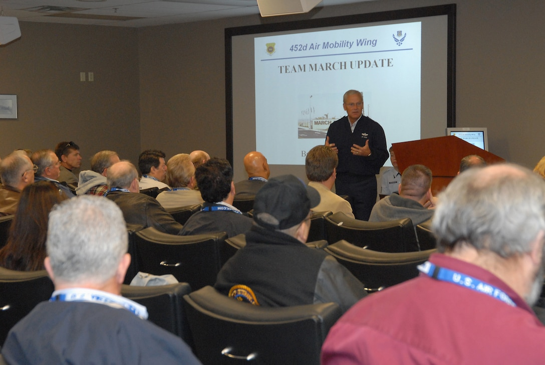 Brig. Gen. James Melin, 452nd Air Mobility Wing commander, briefs local mayors and other civic leaders prior to flying on a C-17 orientation flight from March ARB. The flight was held as part of events leading up to Air Force Week. (Photo by Joe Juarez)