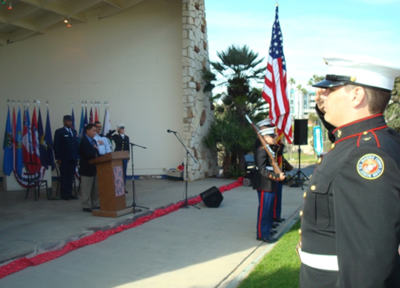 The JROTC Marine Corps unit posted the colors at Redondo Beach's Annual Veterans Day tribute, Nov. 11. Maj. Harold Jackman, GPS Wing, was the keynote speaker at the event. (Photo by Alicia Garges)
