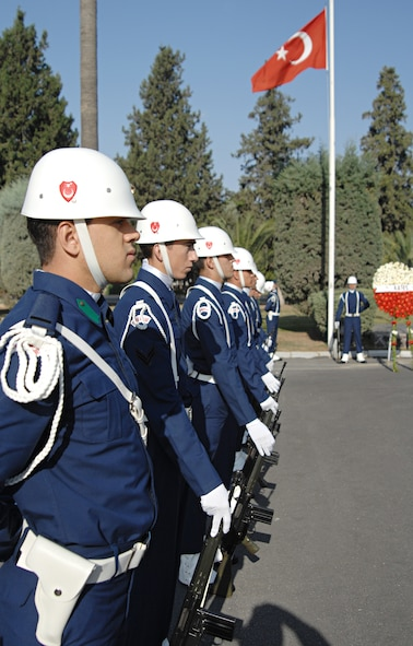 Turkish Air Force members stand at parade rest during the Ataturk Memorial Day Ceremony, Nov. 10, held in front of the 10th Tanker Base Command Headquarters. The ceremony was open to the Turkish and American public. (U.S. Air Force photo by Senior Airman Benjamin Wilson)
