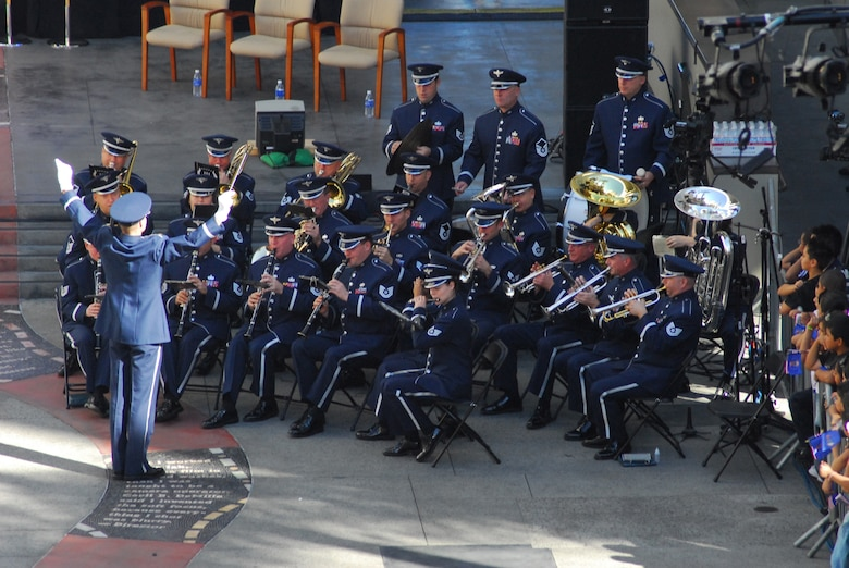 The Band of the Golden West from Travis AFB performs prior to the start of the Proclamation Ceremony kicking off Air Force Week, Nov. 14. (Photo by Joe Juarez)