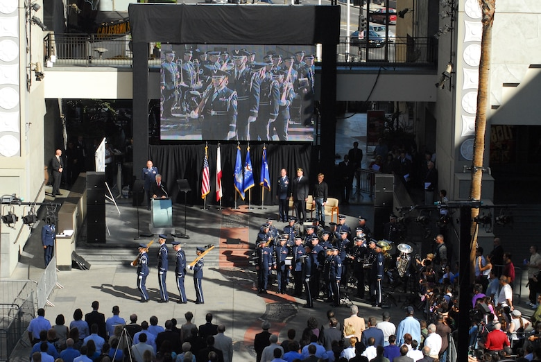 Air Force Week kicked off with a proclamation ceremony at Hollywood & Highland Center, Nov. 14. An Air Force Honor Guard drill demonstration, U.S. Air Force Band of the Golden West performance, an aerial review and Today's Airmen were featured at the event. Air Force Space Command Commander Gen. C. Robert Kehler was the keynote speaker. Aerial flyovers, military band concerts and Air Force-themed film festivals are planned during the week-long extravaganza showcasing the U.S. Air Force, its people and their mission.  Events will be held throughout Southern California, Nov. 14-21. (Photo by Joe Juarez)