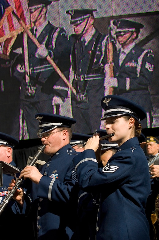 The Air Force Band of the Golden West performs Nov. 14 at Hollywood and Highland Plaza in Los Angeles for the opening ceremonies for Air Force Week-Los Angeles. Air Force Week-Los Angeles is Nov. 14 to 21 and has events throughout the area. (U.S. Air Force photo/Staff Sgt. Bennie J. Davis III)
