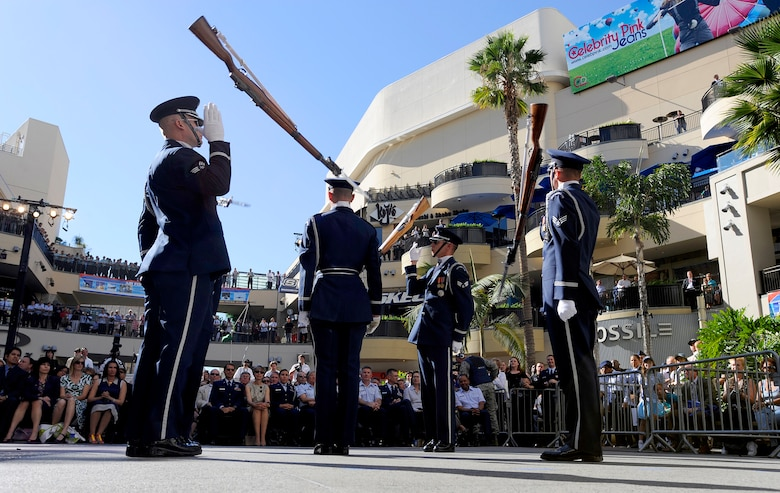 The Air Force Honor Guard Drill Team performs Nov. 14 at Hollywood and Highland Plaza in Los Angeles during the opening ceremonies for Air Force Week-Los Angeles. The drill team performance was one of many attractions at the event. Others included flyovers by several different Air Force aircraft, interactive expos and performances by the Air Force band. Air Force Week-Los Angeles is Nov. 14 to 21 and has events throughout the area. (U.S. Air Force photo/Staff Sgt. Bennie J. Davis III)