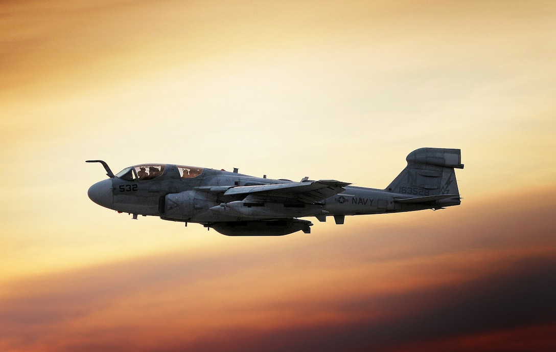 A Navy EA-6B Prowler takes off at dawn from Bagram Air Field, Afghanistan, Nov. 7. (U.S. Air Force photo by Lt. Col. Craig Wells)(Released)