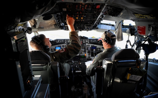 (left) Pilots Lt. Col. Jim Brown and Lt. Col. Dave Jackson perform pre-flight KC-135 Stratanker checks prior to a B-52 Stratofortress refueling mission originating from Andersen Air Force Base, Guam on Nov. 12, 2008. Both are assigned to the 171st Air Refueling Wing Pennsylvania Air National Guard deployed to Andersen A.F.B. in support of Pacific theater refueling operations.(U.S. Air Force photo by: Master Sgt. Kevin J. Gruenwald) released