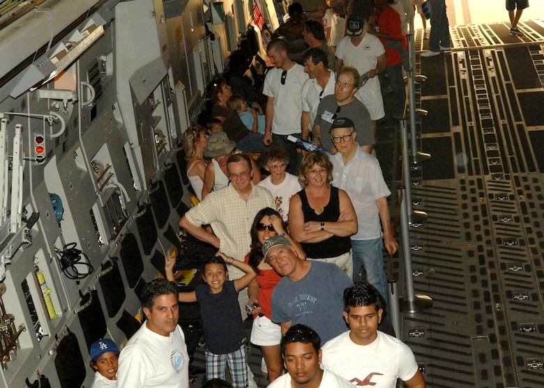 Visitors to the Wings Over Long Beach at the Long Beach Airport wait in line onboard a C17 Globemaster III to see the cockpit, November 15, 2008.  (U.S. Air Force photo by Senior Airman Matthew Smith)