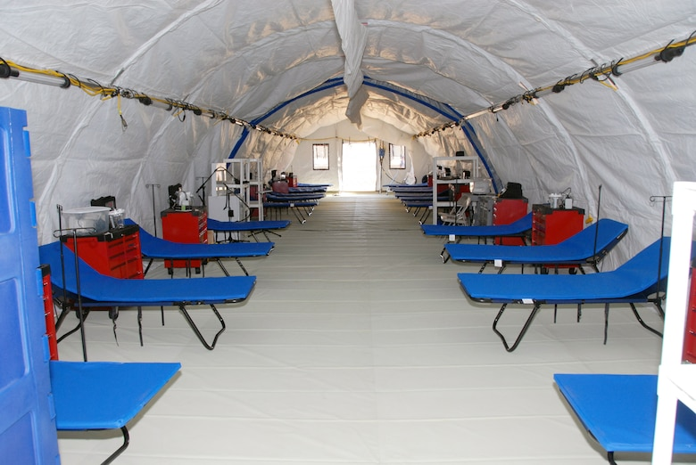 A look inside the Mobile Field Hospital, one of three owned by the state. The hospital is designed with climate control systems and is self-contained with all medical equipment, supplies, and pharmaceuticals to deliver comprehensive emergency  medical care. The three MFHs can also be integrated to provided one 600-bed facility. (U.S. Air Force photo by Staff Sgt. Diane Ducat)