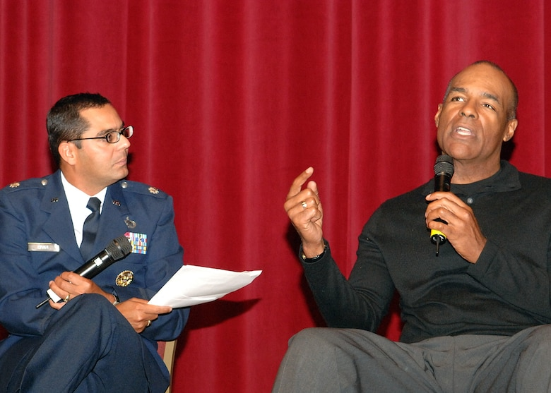 "Lt. Col. Francisco Hamm, Air Force Entertainment Liasion Office, talks with actor Michael Dorn, Star Trek: Next Generation and Star Trek: DS-9's Lt. Worf, at the showing of ""Star Trek VI: The Undiscovered Country.""  The film was screened as part of the Air Force- themed film festivals held during Air Force Week in Southern California, Nov. 14-21.  (Photo by Senior Airman Ashley Moreno)"