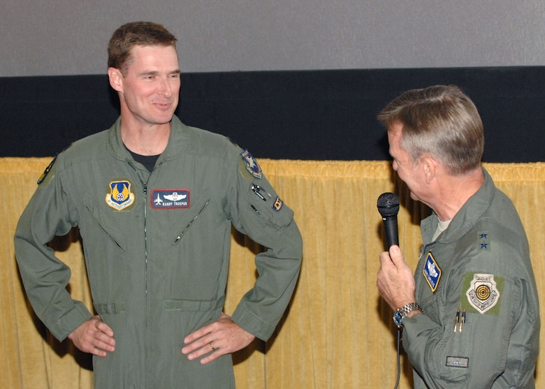 "U.S. Air Force Maj. Gen. Hawk Carlisle and Maj. Rob Jackson, special guest fighter pilots, answer questions from the audience about daily life in the Air Force before the Los Angeles Air Force Film Festival showing of ""Fighter Pilot: Operation Red Flag,"" at Canyon Country 10 Theater, Nov. 16, 2008. (U.S. Air Force photo by Senior Airman Ashley Moreno)"