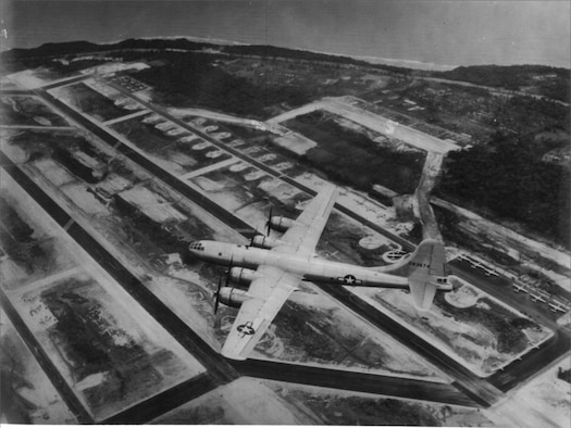 A B-29 in flight over Northwest Field, Guam. Records indicate this particular bomber was assigned to the 315th Bomb Wing, 501st Bomb Group.  (Photo courtesy of the 315th Bombardment Wing circa 1945)