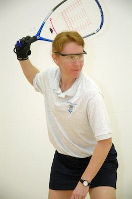 SCHRIEVER AIR FORCE BASE, Colo. -- Maj. Tina Hagen, commander of the Adversary Training Flight, 26th Aggressor Squadron, is ranked as one of the top-10 women racquetball players in the nation for her age group (35-40). This year she claimed runner-up honors at the U.S. National Tournament in Houston, Texas and won her age division at the World Senior event in Albuquerque, N.M. (U.S. Air Force photo/Scott Prater)