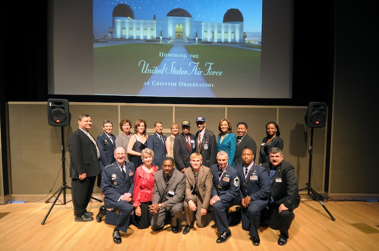 Airmen heroes of yesterday and today mingle with Hollywood celebrities at the Griffith Observatory in Los Angles, Nov. 17. The Friends of the Observatory honored the Air Force at a reception, one of many events, held during Air Force Week in Southern California, Nov. 14-21. (Photo by Joe Juarez)