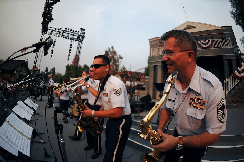 Members of the Air National Guard Band of The Southwest perform Nov. 15 at Knott's Berry Farm in Los Angeles. The band is performing during Air Force Week Los Angeles, which is an event designed to educate the local population about the Air Force's capabilities and missions through various activities and exhibitions all over the Los Angeles area. (U.S. Air Force photo/Staff Sgt. Desiree N. Palacios)
