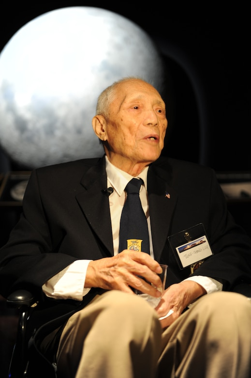 Friends of the Observatory visitor Tung Sheng Liu attends an event honoring Air Force members Nov. 17 at the Griffith Park Observatory in Los Angeles. Sheng Liu is a Chinese citizen who helped one of the Doolittle crews escape the clutches of the Japanese. (U.S. Air Force photo/Staff Sgt. Desiree N. Palacios)