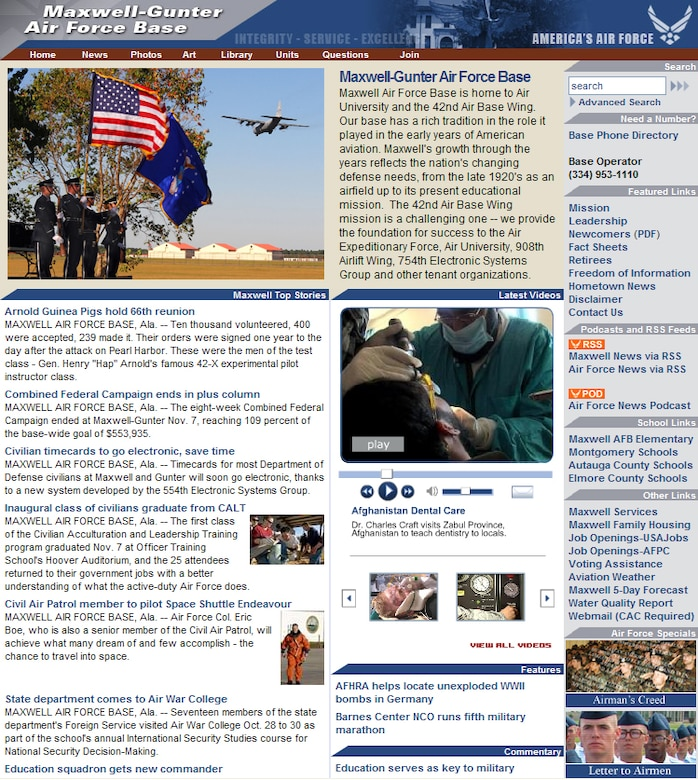 The new Maxwell Web site brings the installation's Web presence in compliance with the Air Force Public Web program. (Air Force graphic)