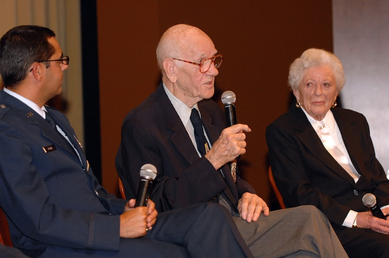 "Air Force Lt. Col. (Ret) Thomas Griffin, one of the Doolittle Raiders, talks to the audience as Lt. Col. Francisco Hamm, Director of Public Affairs Entertainment Liaison Office, and Edith McClure, an Army nurse during World War II, listen before the showing of ""Thirty Seconds Over Tokyo"" part of Los Angeles Air Force Film Festival, Nov. 18, 2008. (U.S. Air Force photo by Senior Airman Ashley Moreno)"