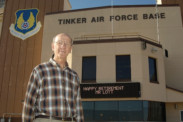 Don Lott, Tinker's airfield manager, will retire next month after a long career that ends where it started. Mr. Lott oversees the runways and ramps for an active base that has also welcomed several presidents, vice presidents, celebrities and high ranking military visitors outside Base Operations.(Air Force Photo/Margo Wright)