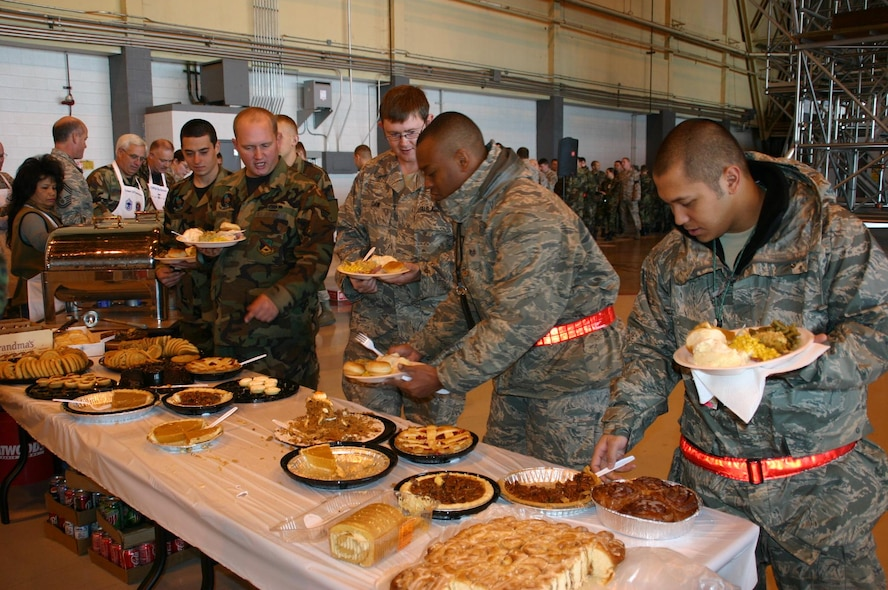 552nd Maintenance Group Airmen choose from the delicious spread of desserts at the annual MXG Turkey Feast November 20. Photo compliments of 1st Lt. Kinder Blacke.