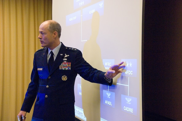 Lt. Gen. Allen Peck, Air University commander, explains the structure of the university to the AU Board of Visitors during a Tuesday breakfast meeting in downtown Montgomery. (Air Force photo by Melanie Rodgers)
