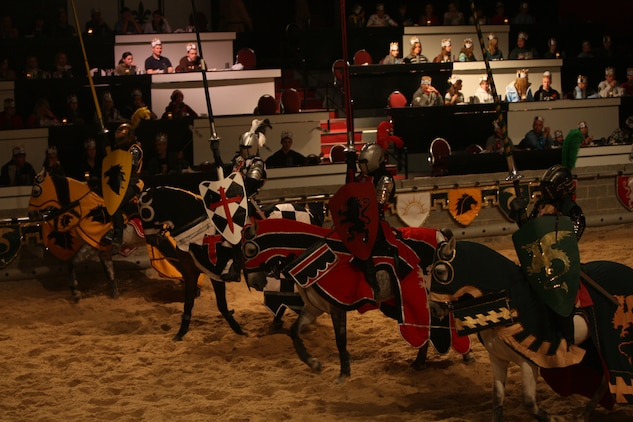 The knights present themselves to the throes of the crowd before they commence the tourney of events of the Medieval Times, Nov.22.