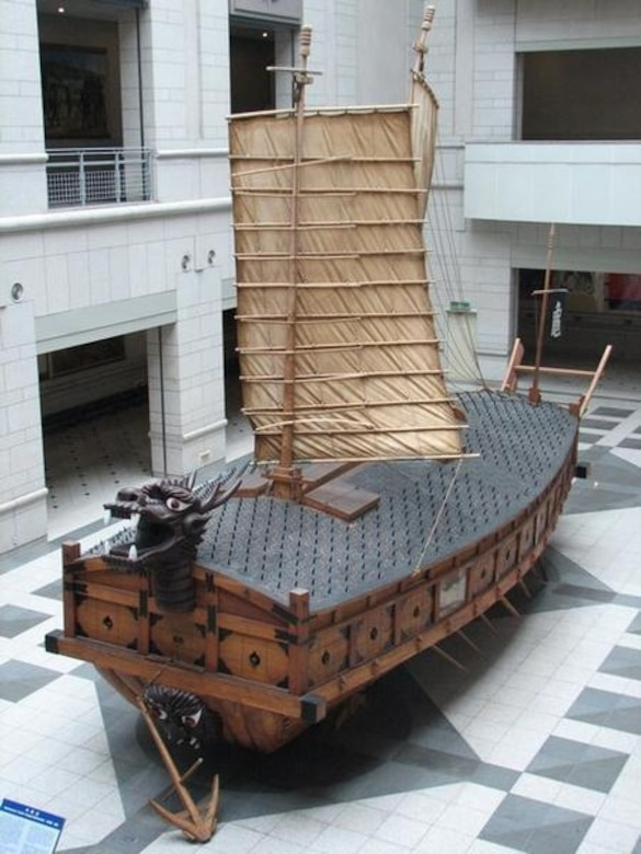 A replica of Admiral Yi, Sun Shin's turtle ship is on display at the Korean War Memorial in Seoul. The memorial is adjacent to Yongsan Garrison. (Courtesy photo)