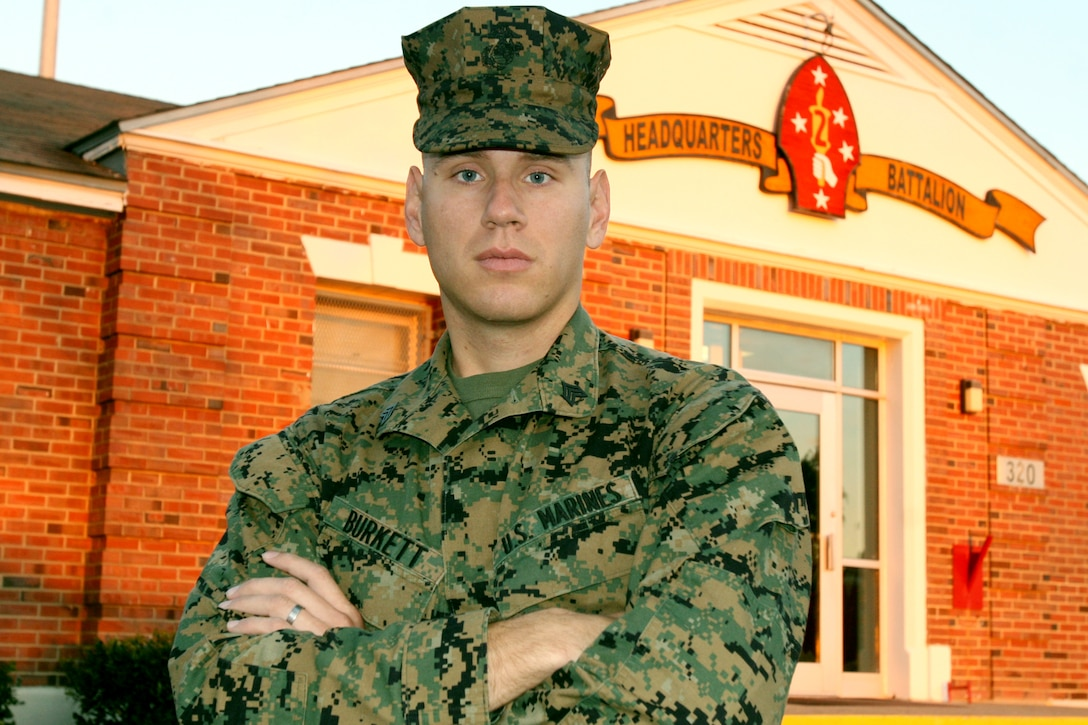 Sergeant Justin Burkett, a chemical, biological, radiological, and nuclear defense specialist with Headquarters Battalion, 2nd Marine Division, beat out keen competition at a meritorious sergeant board to earn his current rank.  Burkett now uses his experience to prepare Marines in his section for successful careers.