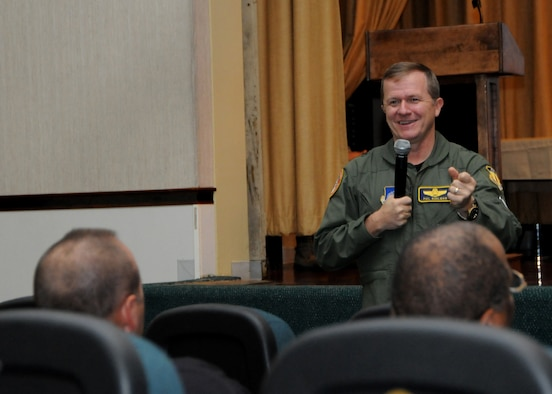 ANDERSEN AIR FORCE BASE, Guam - Brigadier Gen. Phil Ruhlman speaks to Air Force Civilians here Nov. 21 during a Town Hall Meeting about joint basing and the future for these soon to be Navy employees. (U.S. Air Force photo by Senior Airman Nichelle Griffiths)