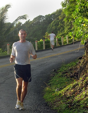 Approximately 30 Team Andersen members competed in the annual Turkey Trot hosted by the Coral Reef Fitness Center Nov. 20. Capt. Scott Sitterson, 36th Logistics Response Squadron, earned his turkey as the first place finisher overall of the four-mile trek up and down Sander's Slope with a time of 32:29. (U.S. Air Force photo by Airman 1st Class Carissa Wolff)